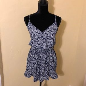 Floral romper, navy blue and white, Size L